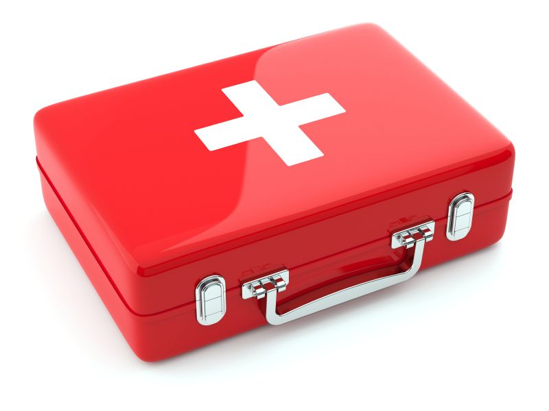 3d render of first aid kit isoalted on white background